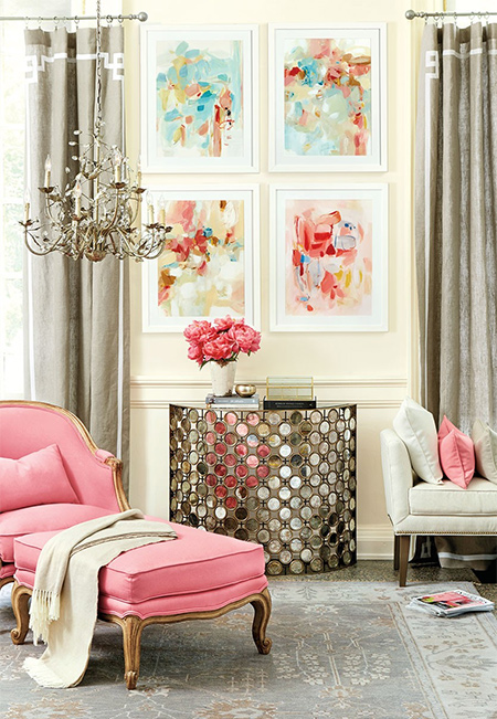 We love shades of grey, but decided to put a feminine spin on it by adding splashes of pink to a predominantly grey colour palette.