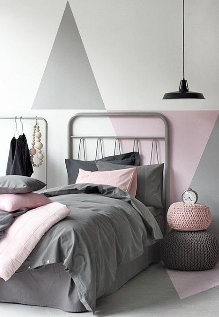 Pink and grey are a wonderful colour combination for girl's rooms too! Forget about bubble gun or Barbie pink and go for hues that are more grown up.