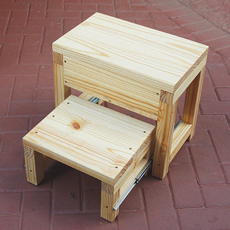 Book now to make our Step Stool - Toolbox combination. It is designed to be sturdy and strong. We supply all the tools and materials necessary to make the project and then you can finish it at home.