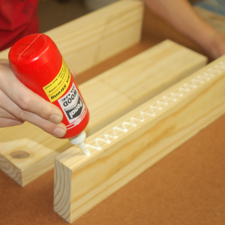 5. For both the small and large step stool, glue together the slats that form the tops/lid.