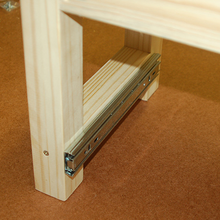 10. Secure the 250mm drawer runners to the leg rail on the large stool with 16mm screws.