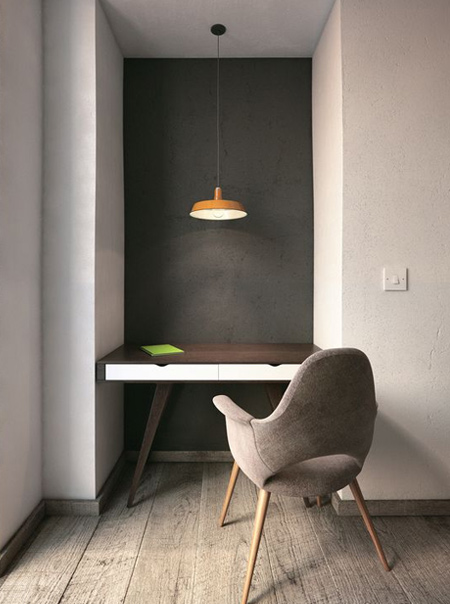 Turn an alcove into a comfortable work space by adding a worktop. You don't need a large alcove to make this work - just enough space to fit a chair for working. You can even add cupboards and shelves for even more function.
