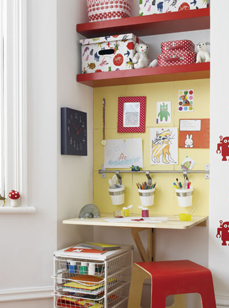 Children always need more storage space, and and alcove doesn't intrude on floor space so look at ways to incorporate storage and furniture into this area. Shelves are easy, and you can buy ready-made shelves or make your own shelves to fit the space.
