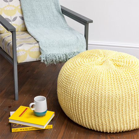 Made with chunky knit or t-shirt yarn, our knitted pouffe uses a simple garter stitch and can be made in a weekend.