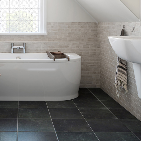 The more textured a tile is - the less slippery. Polished and semi-polished tiles are not recommended for a family bathroom.