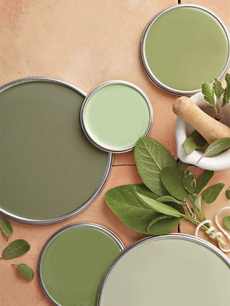 Decorate your living spaces with sage green. It's a colour that is ideal for both warm and cool rooms and works beautifully with other hues.