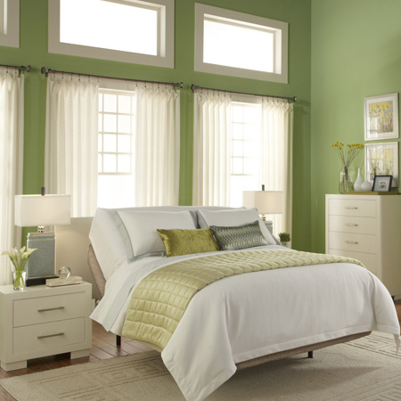 As an alternative to traditional white or beige, sage green can be used to wonderful effect in bedrooms. Combined with crisp white moulding and trim and elegant white bedroom furniture, sage green makes for a fresh combo that is welcoming and serene.