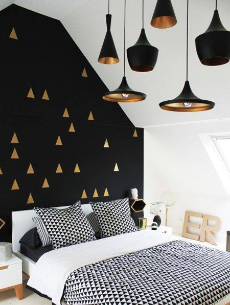 Before you apply black, stand back and assess the space. Only apply large areas of black in a room with lots of natural light or opt for smaller splashes of black purely for accent.