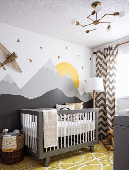 Who says you can't use black in a child's bedroom. This gorgeous landscape mural proves that you can and it makes a big impact.