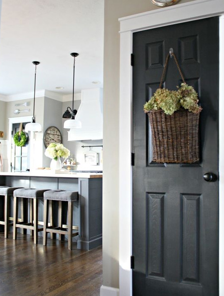 Interior or exterior doors, create a dramatic contrast and eye-catching appeal with a coat or two of black paint.