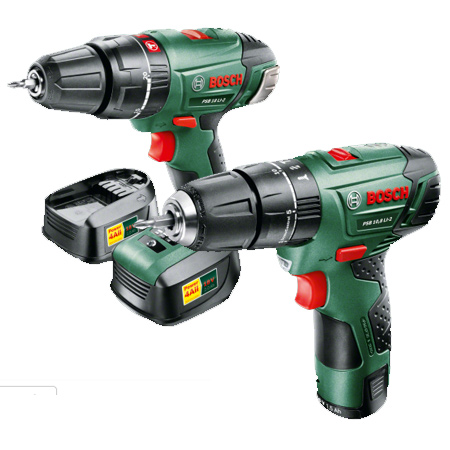 The Bosch PSB 18 LI-2 and PSB 10,8 LI-2 are Combi Drills that have integral hammer function for drilling into masonry.