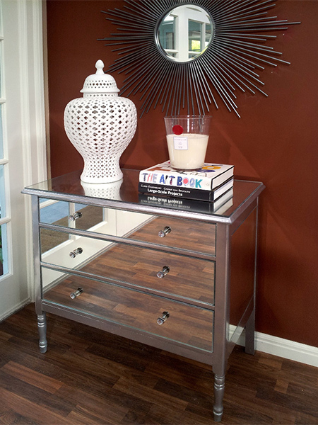 Transform dated furniture or makeover plain furniture with Rust-Oleum Bright Coat and mirrors.