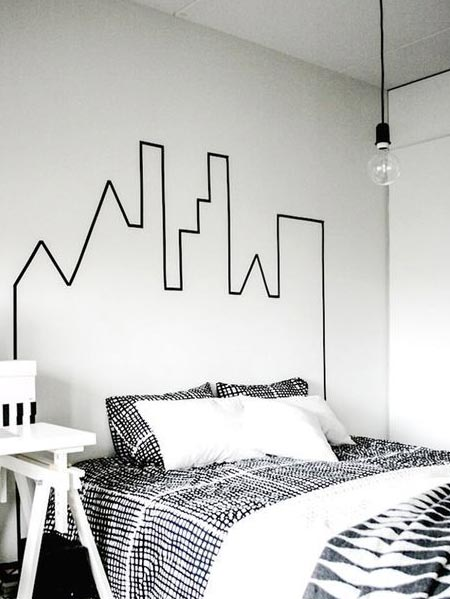 HOME-DZINE | You can use washi tape anywhere in the home where you want to add a temporary design that is easy to apply, but also easy to remove. Perfect for those that rent their home, you can use washi tape on walls to add an interesting design and we're seeing washi tape headboards popping up all over the Internet.