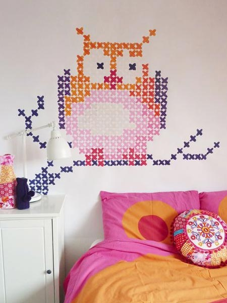HOME-DZINE | Cross-stitch murals are the new way to add interest to walls, but if you prefer something a little more temporary, or you rent your home - use washi tape to stick on an interesting or colourful cross-stitch design. When you want to change the look, simply peel the tape off.