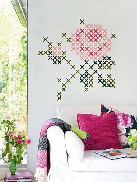 Cross-stitch murals are the new way to add interest to walls, but if you prefer something a little more temporary, or you rent your home - use washi tape to stick on an interesting or colourful cross-stitch design. When you want to change the look, simply peel the tape off.