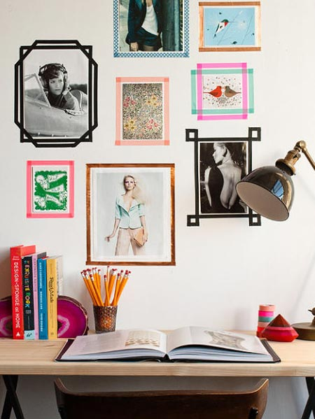 HOME-DZINE | A simple, stunning and inexpensive way to create a mini wall gallery is to frame your favourite images or designs with washi tape. It's easy to remove the tape, making it ideal for renters.
