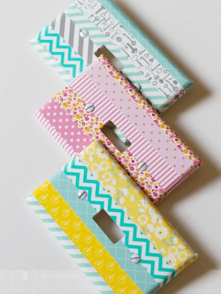 HOME-DZINE | After applying washi tape, use ModPodge or Prominent Paints clear acrylic sealer to provide a protective, wipeable finish over the tape. Apply 5 or 6 coats over the tape.