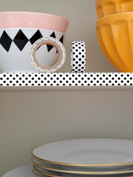HOME-DZINE | If you have open shelves, apply a strip of washi tape along the edge to provide an interesting feature. Another great way for those renting to add a personal touch to their home.