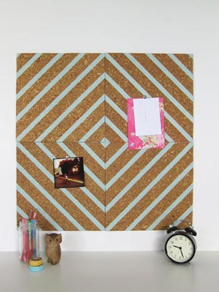 HOME-DZINE | Turn plain cork tiles into an interesting feature with a few strips of washi tape.