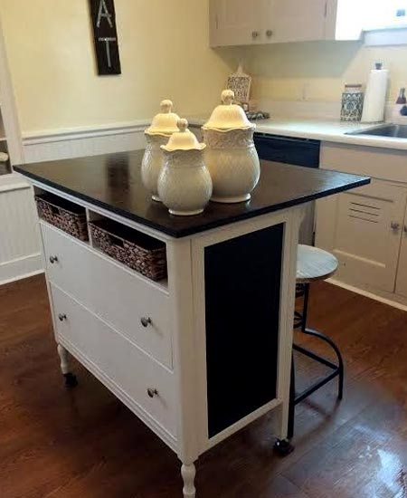 HOME-DZINE | People are finding so many awesome ways to repurpose secondhand finds into useful and practical furniture for their home. Like this chest of drawers turned into a kitchen island.