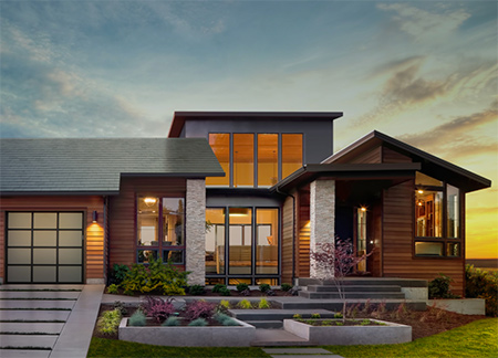 Almost invisible on a roof, solar roof tiles incorporate a unique solar film, specifically designed for Tesla, that allow the tiles to efficiently convert sunlight to power a home.
