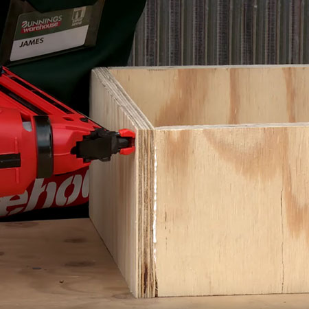 1. Join all the boxes together using wood glue and pneumatic nail gun OR use a hammer and panel pins.