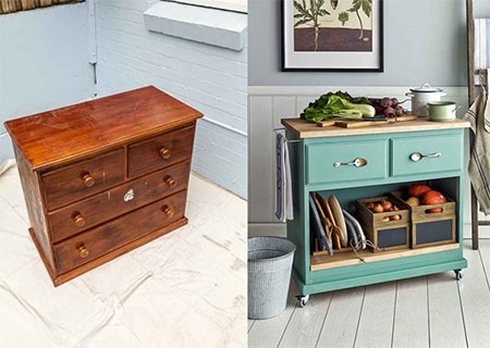 HOME-DZINE | Kitchen DIY - Every kitchen could do with a little extra storage and countertop space. An old pine dresser is transformed into a mobile kitchen island to contain clutter and provide a handy worktop.