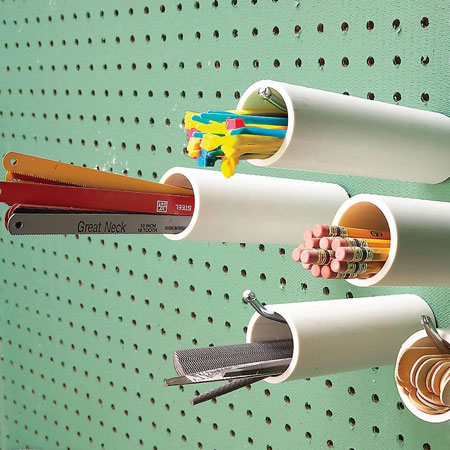 HOME-DZINE | Workshop Organisation - You can also use small sections of PVC pipe to create a storage board for items that you use on a regular basis. Slip the cut pipe over a long hanger and then insert accessories.