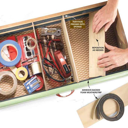 HOME-DZINE | Workshop Organisation - And finally... a great way to get your drawer organised by using adhesive-backed foam weatherstrips that you will find at your local Builders, and 3mm strips of plywood.