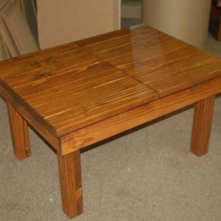 BELOW: Table after applying stain and sealer.