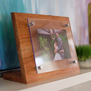 Wood and glass photo frame