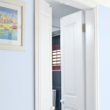 HOME-DZINE | Door Ideas - Doors can take up a lot of floor space, but by dividing the door into two halves you are able to cut the standard 820mm arc down to 410mm - saving you floor space.