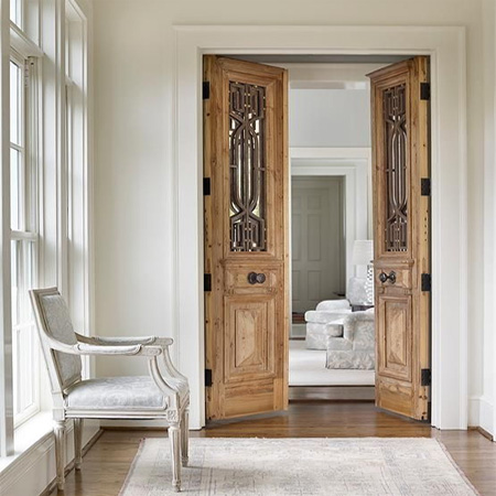 HOME-DZINE | Door Ideas - Fitting a conventional door to an opening takes up an 820mm arc of floor space. By dividing the door in half, each section only takes up 420mm on either side - a drastic saving of floor space, especially in a small room like a bathroom, laundry or hallway.