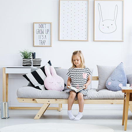 HOME-DZINE | Childrens Furniture - Topping off the new range of children's furniture from Design-A-Bed is the Sofa Bed. This beautiful, dual-purpose natural pine sofa also doubles up as a sleepover bed. Made from quality pine, the bed has a soft, silky wax finish that protects and makes it easy to keep clean.