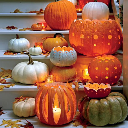 HOME-DZINE | Halloween Crafts - You can't decorate for Halloween without a pumpkin or two, and you can grab assorted size pumpkins at your local veggie store. Hollow these out, clean them and pop in a candle to make a wonderful display for the Halloween festivities.