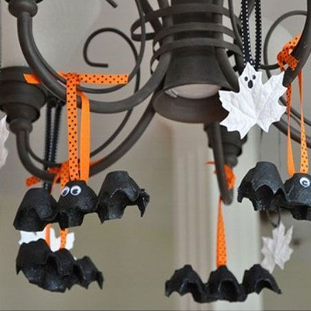 HOME-DZINE | Halloween Crafts - Let the kids make their own scary stuff for Halloween. These egg carton bats are super easy to make, and can be hung from light fixtures around the house to scare guests!