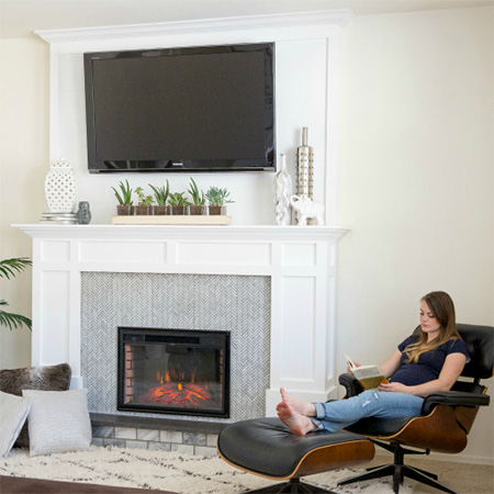 HOME-DZINE - Faux Fireplace Ideas - The faux fireplace is built using a combination of pine and plywood, and finishing with mosaic tile on the front panel to provide the authentic touch.