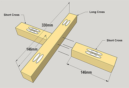 2. To assemble, align the Short Cross brace to the Long Cross brace as shown below. Secure with pocket-hole screws. Align the second Short Cross brace and repeat the process.