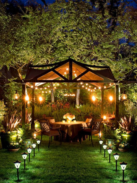 HOME-DZINE - Garden Lighting - Outdoor entertainment areas love ambient light and you're going to need lights to brighten not only the patio, but also around the pool and any paths or walkways. Guests need to be able to move around safely, but there's no need to bombard the garden with bright lights - spotlights should be mounted high and positioned carefully to avoid unpleasant glare.