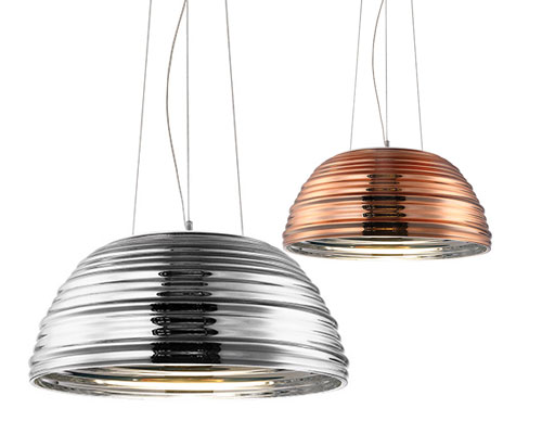 GLOSS pendants with plated glass shade from Spazio lighting