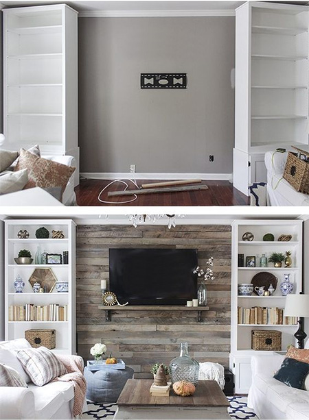 HOME-DZINE | Feature Wall Ideas - To make it easy to add, or remove when necessary, secure reclaimed wood planks to battens mounted onto the wall. If glued directly onto the wall, the planks will be extremely difficult to remove and may leave behind a lot of mess to fix up.