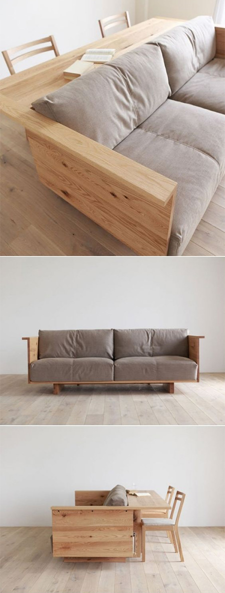 HOME-DZINE | DIY Sofa - Imagine a sofa that doubles as a dining table or work area. If you make your own you can custom design a sofa to fit into any space. The sofa-table is the perfect seating design for small spaces. The luxuriously padded seat cushions and back rests provide a comfortable place to sit. Make using pine, meranti or hardwood to suit your budget.