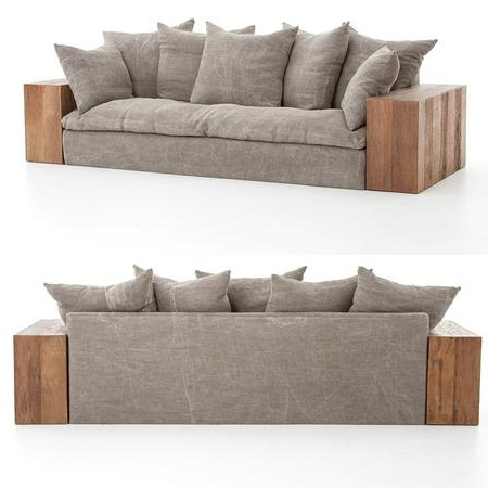 HOME-DZINE | DIY Sofa - The centre seating and back section of the sofa is a frame wrapped with batting and fabric. What makes this sofa so comfortable are the layered feather-and-down cushions and seat cushion.