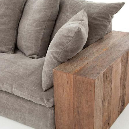 HOME-DZINE | DIY Sofa - The side arms of the sofa are laminated blocks of wood, in a double thickness, for a wonderfully chunky look.