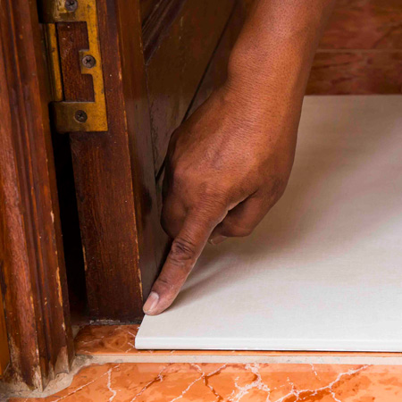 HOME-DZINE | Tiling Tips - GOOD TO KNOW: When looking at the option to tile over the top of existing tiles, consider that the height of the floor will increase by the thickness of the new layer of tiles. This means that skirting boards will need to be removed beforehand, and that doors will need to be trimmed.