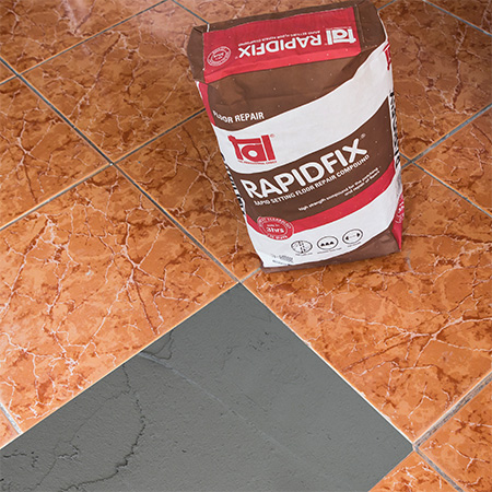 HOME-DZINE | Tiling Tips - TAL Rapidfix is a rapid-set patch and repair compound that is used to fill up areas where tiles have been removed, so that they are level with the surrounding tiles. Allow repairs cure according to the pack guidelines before proceeding.