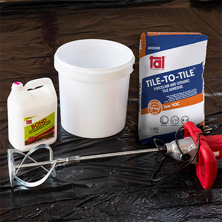 HOME-DZINE | Tiling Tips - To bed the new tiles use TAL Tile-To-Tile quick-set tile adhesive. When tiling onto suspended slabs and for external installations mix the TAL Tile-To-Tile with TAL Bond, replacing the water in the mix.