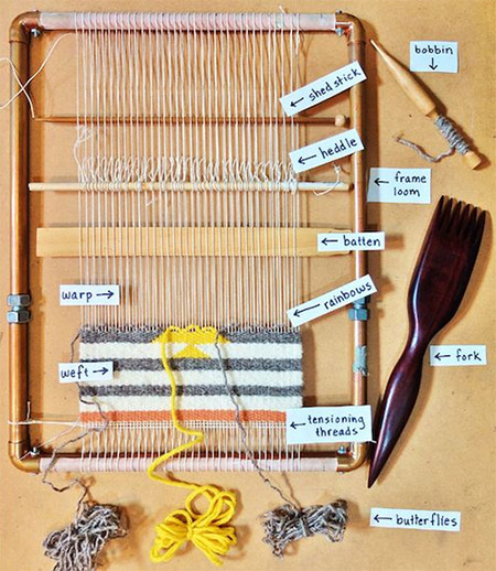 I also found this interesting loom made from copper pipes on Makezine