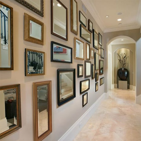 Use mirrors to brighten up a dim hallway, dark entrance, pokey bathroom or use them to visually enlarge a room or space.