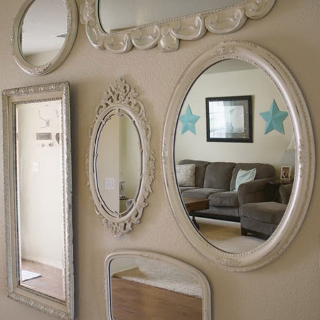 A wall of mirrors creates an instant feature and it works wonders for brightening up a dark corner in a room